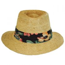 Los Cabos Raffia Straw Safari Fedora Hat in