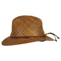 Anza Chincord Raffia Straw Safari Fedora Hat in