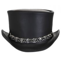 8 Skulls Leather Top Hat in