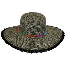 Frayed Brim Toyo Straw Floppy Hat in