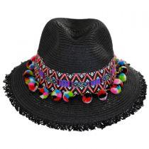 Aztec Band Pom Pom Toyo Straw Fedora Hat alternate view 2