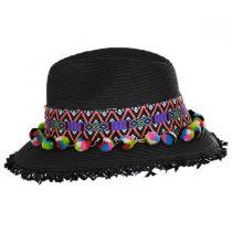 Aztec Band Pom Pom Toyo Straw Fedora Hat alternate view 3