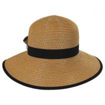 Two-Tone Bow Toyo Straw Sun Hat in