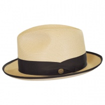 Latte Florentine Milan Straw Fedora Hat alternate view 16