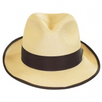 Latte Florentine Milan Straw Fedora Hat alternate view 28