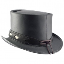 Diamond Leather Top Hat in