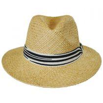 Striped Band Raffia Straw Fedora Hat alternate view 2
