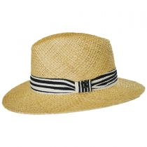 Striped Band Raffia Straw Fedora Hat alternate view 3