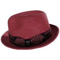 Tie Band Straw Trilby Fedora Hat in