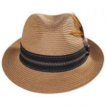 Striped Band Straw Trilby Fedora Hat in