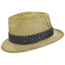 Cane Open Weave Toyo Straw Fedora Hat in