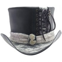 Havisham White Lace Leather Top Hat in
