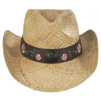 Pink Rose Straw Western Hat in