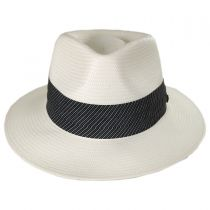 Stripe Band Shantung Straw Fedora Hat in