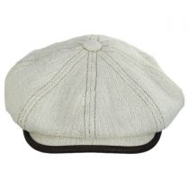 Lambskin Bill Linen and Cotton Newsboy Cap in