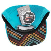 Teal Checkered Snapback Baseball Cap in