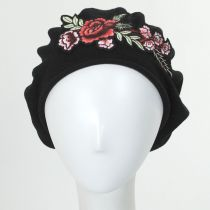 Floral Patch Cotton Beret in