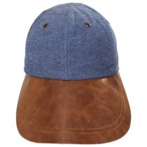 Vegan Leather Long Bill Strapback Baseball Cap in