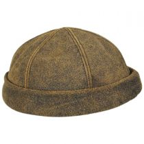 Six Panel Antique Leather Skull Cap Beanie Hat in