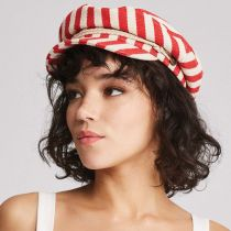 Striped Cotton Blend Fiddler Cap in