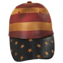 Stripes and Stars Straw Adjustable Baseball Cap in