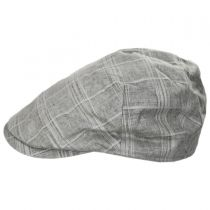 Windowpane Plaid Linen and Cotton Duckbill Ivy Cap in