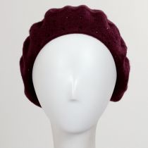 Black Stud Wool Felt Beret in