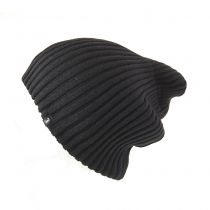 Slouchy Rib Knit Beanie Hat in