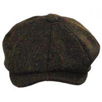 Carloway Harris Tweed Wool Windowpane Plaid Newsboy Cap in