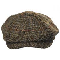Carloway Harris Tweed Wool Overcheck Herringbone Newsboy Cap in
