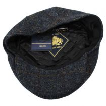 Stornoway Harris Tweed Navy Wool Flat Cap in