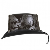 Silver Skull Leather Top Hat in