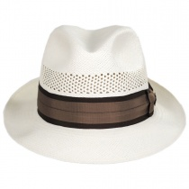 Carmel Vented Panama Straw Trilby Fedora Hat in