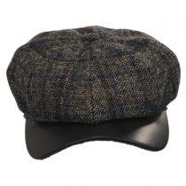 Vintage Shetland Wool Check Newsboy Cap in
