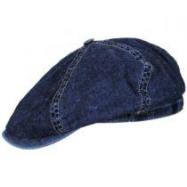 Vintage Denim Cotton Blend Newsboy Cap in