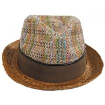 Mosaic Raffia Straw Blend Fedora Hat in
