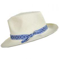 Azure Toyo Straw Fedora Hat in