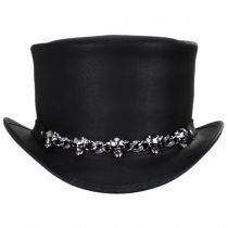 5 Skull Leather Top Hat in