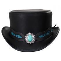 Elegant Turquoise Leather Top Hat in