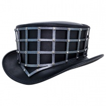 Reversible Cage Leather Top Hat in
