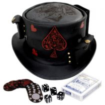 Poker Face Leather Top Hat in