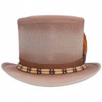 Doc Bone & Feather Mesh Top Hat in