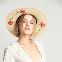 Joanna Embroidered Brim Palm Straw Fedora Hat alternate view 5