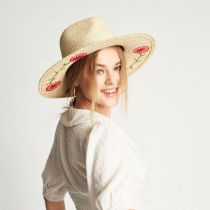 Joanna Embroidered Brim Palm Straw Fedora Hat alternate view 6