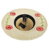 Joanna Embroidered Brim Palm Straw Fedora Hat in