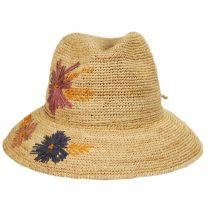 Lisse Hand Crocheted Raffia Straw Fedora Hat in