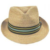 Lorenzo Hand Crocheted Raffia Straw Fedora Hat in