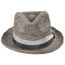 Matteo Hand Crocheted Raffia Straw Fedora Hat in