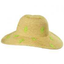 Cactus Embroidered Toyo Straw Blend Sun Hat in