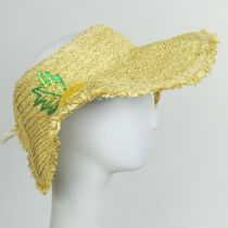 Pineapple Embroidered Toyo Straw Blend Roll Up Visor Hat alternate view 3